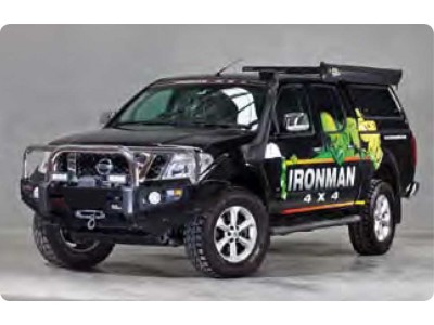Ironman 4x4 Black Commercial Bull Bar - Nissan Navara D40 (With Recessed Line in OE Bumper)