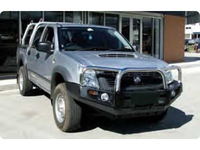 Ironman 4x4 Black Commercial Bull Bar - Holden Rodeo RA (2002-2006)