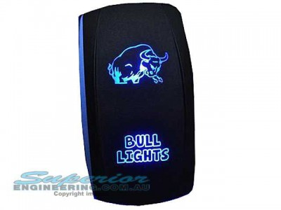 Rocker Switch Bull Lights Blue LED