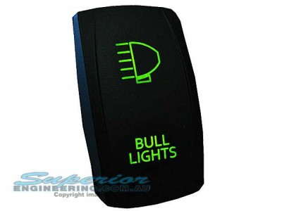 Rocker Switch Bull Lights Green LED