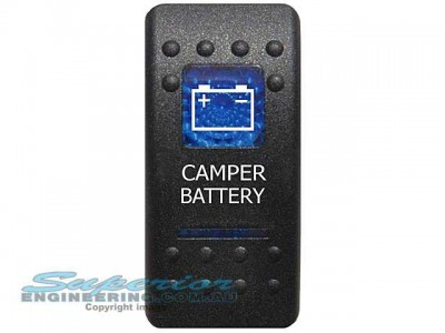 Rocker Switch Camper Battery Blue Printed Lens