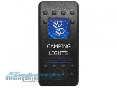 Rocker Switch Camping Lights Blue Printed Lens