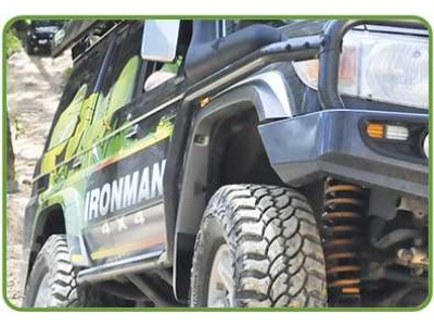 Ironman 4x4 Premium(63mm) Steel Side Steps with Side Rails Landcruiser 79 Series(Dual Cab)