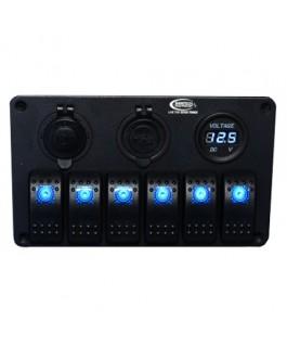 Baintech 6 Way Switch Panel (Blue LED)