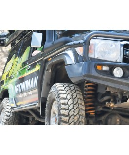 Ironman 4x4 Premium(63mm) Steel Side Steps with Side Rails Suitable For Landcruiser 79 Series(Dual Cab)