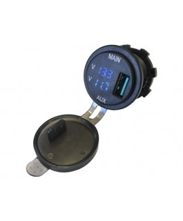 Lightforce Dual Voltmeter with 3.0 Amp USB Fast Charger