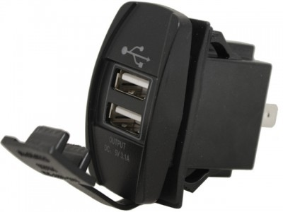 USB Power Socket 12/24V with Rubber Cover