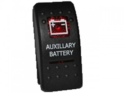 Rocker Switch Auxiliary Battery Red Printed Lens