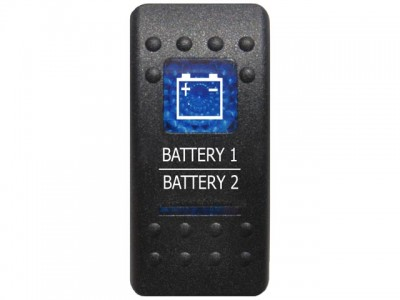 Rocker Switch Battery 1 Battery 2 Blue Printed Lens