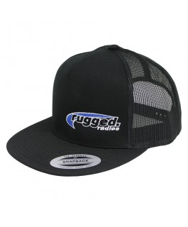 Rugged Radios Flat Bill Snapback Hat (Black/Black)