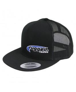 Rugged Radios Flat Bill Snapback Hat (Black/Black) (Each)