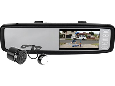 Axis JS043BT Integrated Bluetooth 4.3 inch TFT LCD Display Clip-on Monitor Rearview Mirror with 1/4 inch Camera