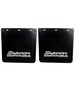 Superior Mudflaps Large 280mm x 280mm - White Logo
