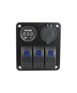 Superior 3 Way Switch Panel with Voltmeter and USB (Blue LED)