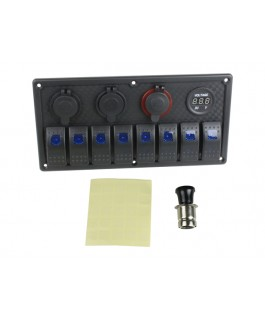 Superior 8 Way Switch Panel with Voltmeter, Ciga Socket, Lighter Socket and USB (Blue LED) (Each)