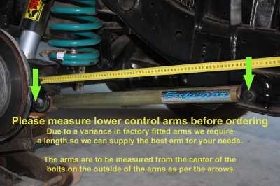 Please measure lower control arms before ordering