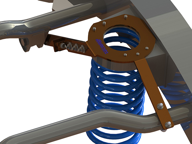 3D diagram depicting a fitted coil tower brace on some blue coil springs