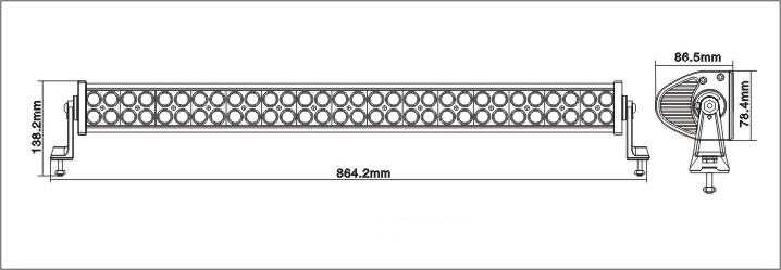 Diagram showing the overall size, dimensions and measurements of the 30 inch LED light bar - side and profile view