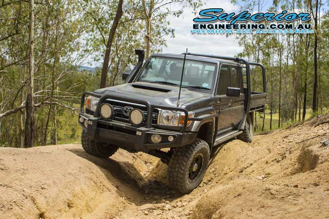 Front view of the 79 Series Toyota Landcruiser at one of the Landcruiser Mountain Park 4wd tracks for some offroad testing