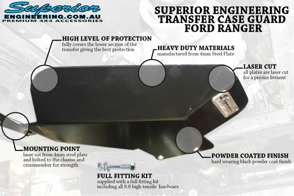 Superior Engineering Ford Ranger and Mazda BT-50 transfer cased guard features and highlights