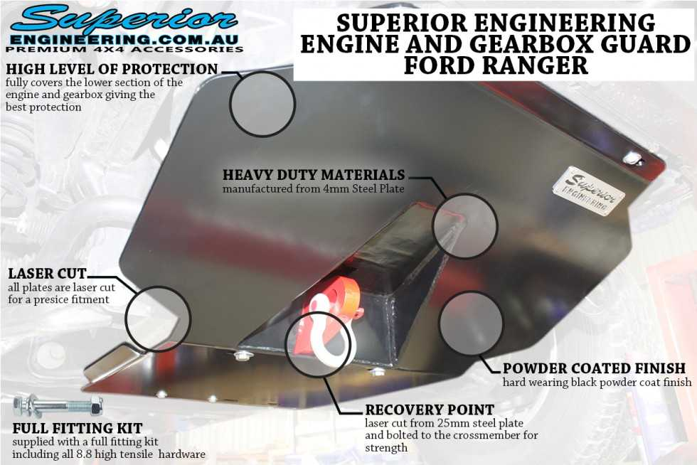 Superior Engineering Ford Ranger and Mazda BT-50 front underguard features and highlights