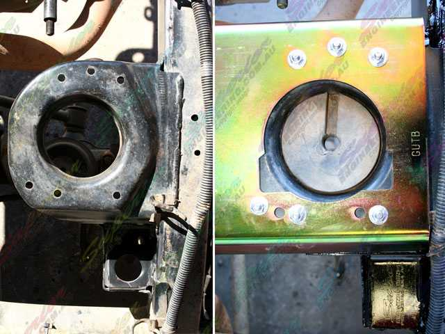 Before and after shots of the left side of the brace bolted on the mounting plate
