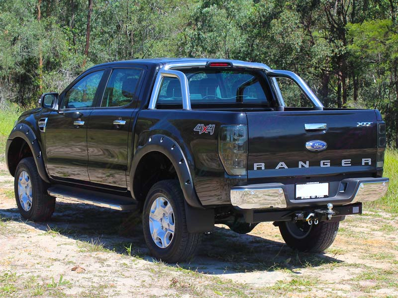 Rear end view of a Ford Ranger PX Dual Cab fitted with a 3 inch Superior Nitro gas lift kit