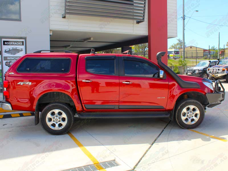 Right side view of a Red Holden Colorado (dual cab) fitted with an Ironman & Ironman 4x4 Ute Canopy - Holden Colorado 2012 on (Round Profile ...