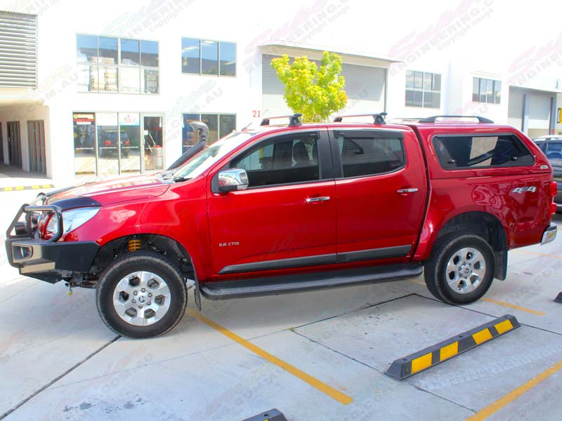 Left side view of a Red Holden Colorado (dual cab) fitted with an Ironman & Ironman 4x4 Ute Canopy - Holden Colorado 2012 on (Round Profile ...