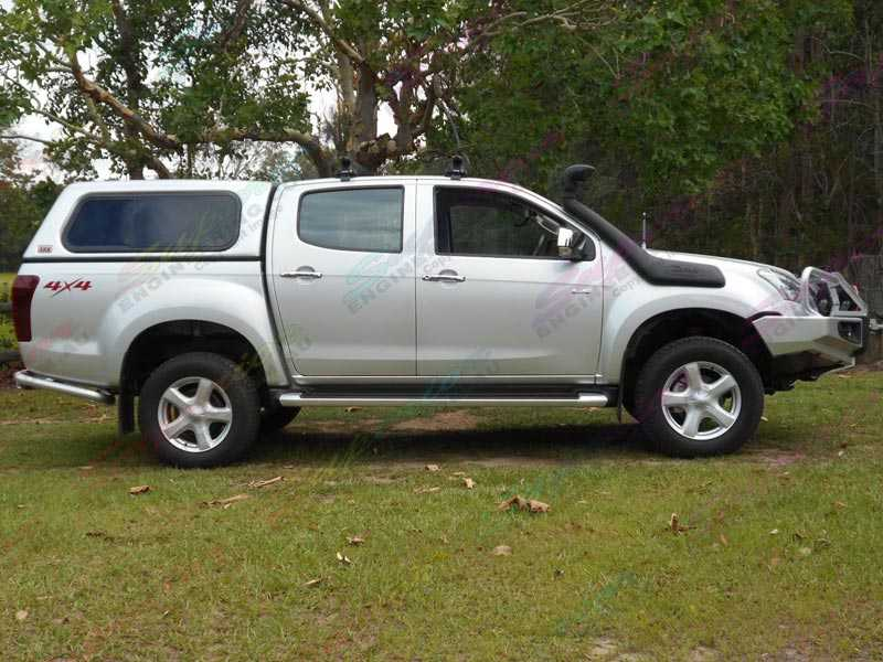 After photos of a silver Isuzu Dmax fitted with a Superior 2 inch nitro gas lift kit