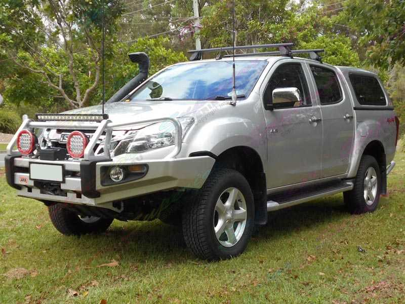 Left side photos of a silver Isuzu Dmax fitted with a Superior 2 inch nitro gas lift kit, bullbar, snorkel, lightbar, side steps and canopy