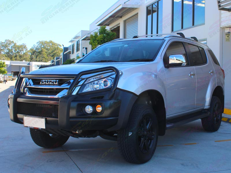 Front left view of a silver Isuzu M-UX SUV fitted with a 45mm inch Bilstein lift kit