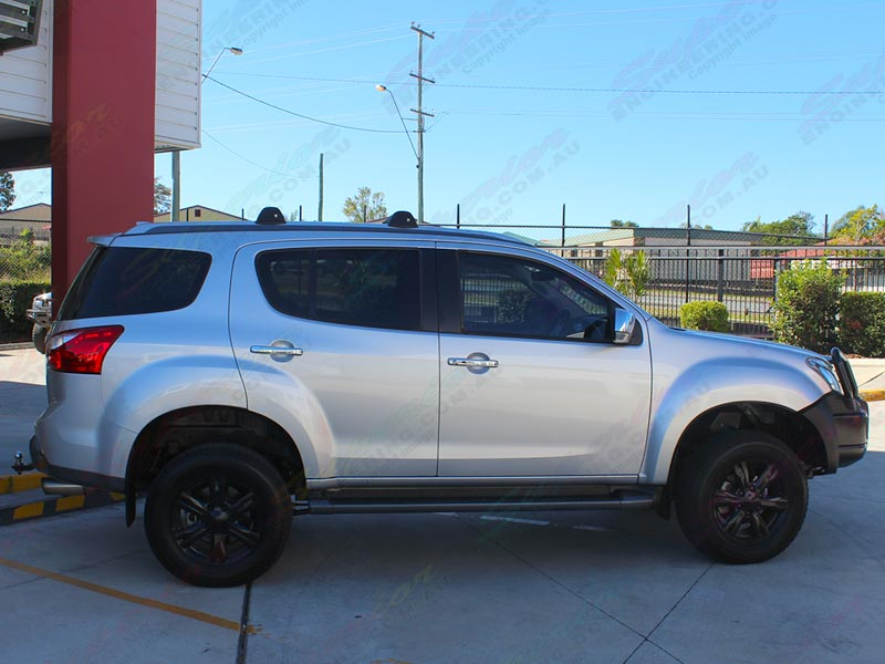 Right side view of a silver Isuzu M-UX SUV fitted with a 45mm inch Bilstein lift kit