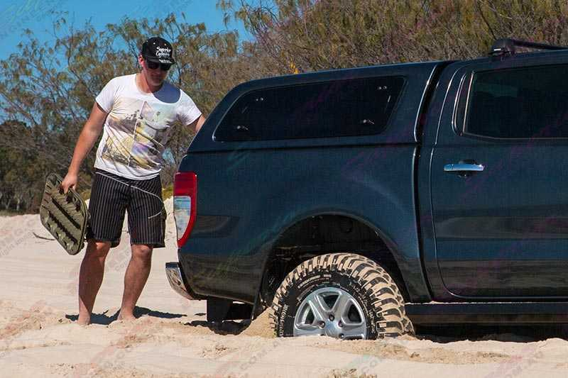 Preparing the Ford Ranger for a vehicle recovery with the MaxTrax device