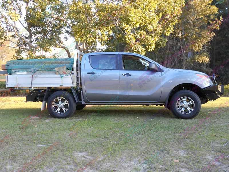 Right side view of the grey Mazda BT-50 fitted with a Ironman 4x4 Black Commercial Bullbar