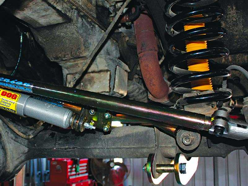 Steering Suspension Components - including tie rod, tough dog steering damper and black coil springs