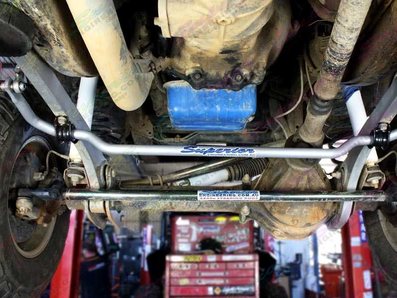 Superior Superflex Swaybar kit fitted to the underside of a Nissan Patrol. Notice how they fit with the Superflex radius arms.