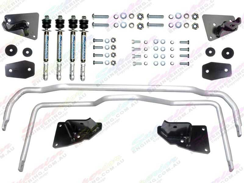 Complete Superflex swaybar kit from Superior Engineering. Includes swaybars, mounts, swaybar entensions, nuts and bolts for easy installation.