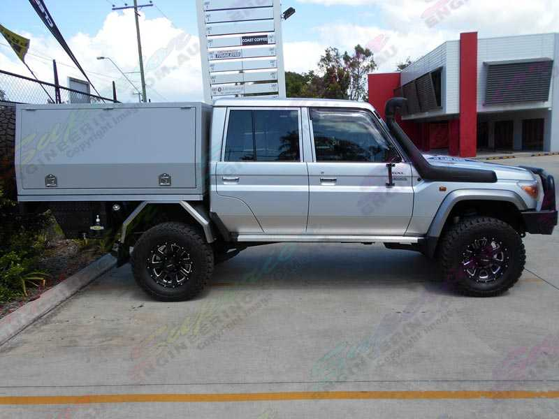 Right Side Profile View Of A Silver 78 79 Series Toyota Landcruiser With A 3