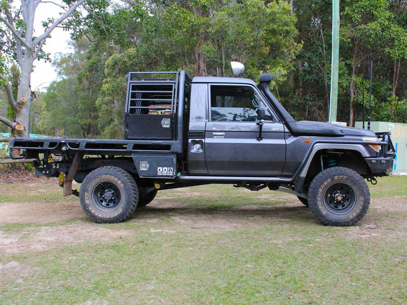 Right Side View Of A Toyota Landcruiser 79 Series Single Cab Fitted With The 5 Inch
