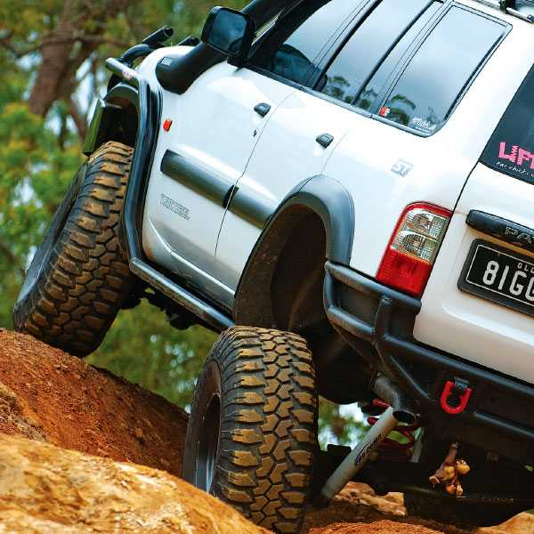 The rear of a 4X4 with heavy-duty trailing arms